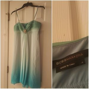 BCBGMaxAzria green and blue formal dress